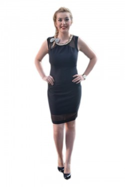 Poze Rochie eleganta, neagra, decor din plasa usor transparenta
