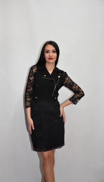Rochie eleganta stil rock cu insertii de dantela,culoarea neagra
