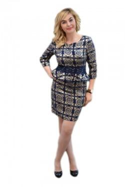 Poze Rochie eleganta tip costum, de culoare bleumarin, cu imprimeu
