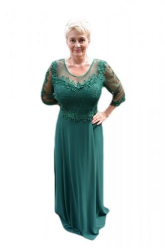 Poze Rochie lunga de seara din voal si dantela, culoare verde