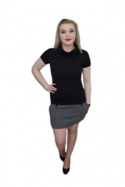 Poze Rochie tinereasca, bicolora, alb-negru cu guler rulat