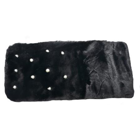Sal din blanita cu aplicatii de perle,nuanta de negru