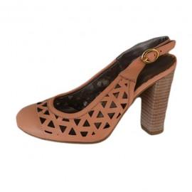 Poze Sandale clasice, cu toc inalt, piele naturala, perforate