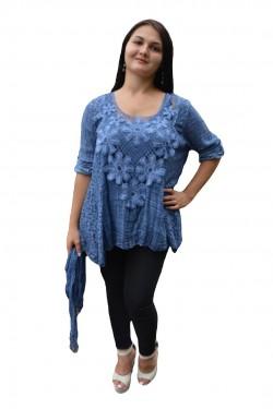 Poze Bluza brodata cu maneca trei-sferturi si croi asimetric, albastra