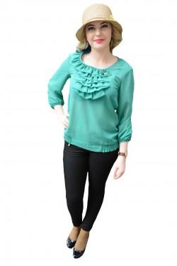 Poze Bluza cu maneca lunga din material subtire de nuanta turcoaz