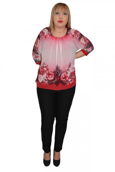 Poze Bluza de ocazie din material tip voal ,rosu cu imprimeu floral