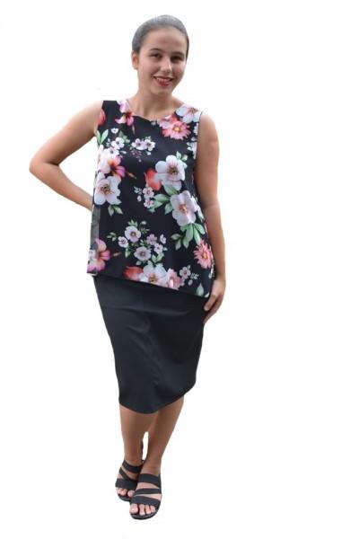 Poze Bluza de vara tip maieu, Florice din voal cu imprimeu floral ,nuanta de negru