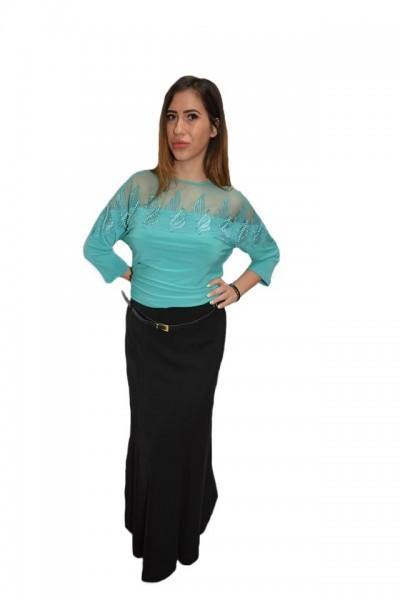 Poze Bluza eleganta office ,model deosebit ,nuanta turcoaz