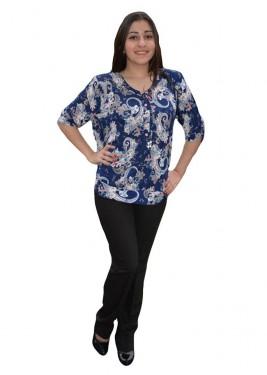 Poze Bluza fashion cu design colorat pe fond bleumarin, croi lejer