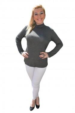 Poze Bluza la moda, material elastic, nuanta de gri, maneca lunga