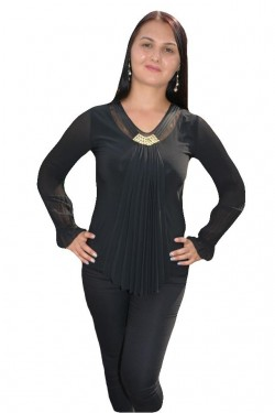 Poze Bluza tinereasca, eleganta, culoare neagra, maneca lunga voal