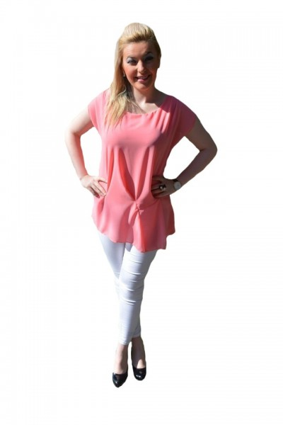Poze Bluze cu maneca scurte, din voal, verzi, corai, roz, bej