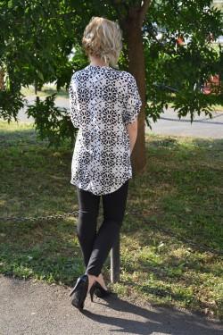 Camasa lunga de primavara-vara cu imprimeu alb cu negru