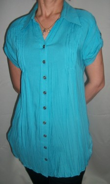 Camasa lunga de vara cu aspect creponat, de culoare albastra