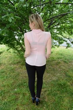 Camasa rafinata cu aspect clasic, de culoare roz, de vara
