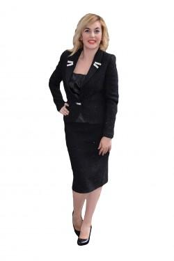 Costum fashion de ocazie, culoare neagra, de toamna-iarna
