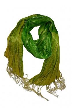 Esarfa fashion din matase fina de culoare verde in doua nuante vii