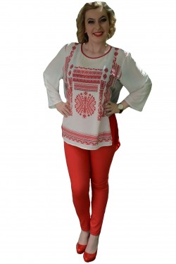 Poze Pantalon casual, nuanta rosie, talie medie, curea fashion si subtire