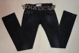 Poze Pantalon de blug din bumbac 100%, bleumarin, cu curea in talie