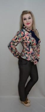 Poze Pantalon elegant, nuanta de maro, design geometric, fermoar