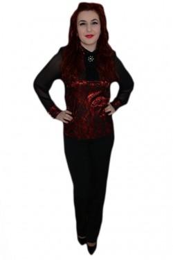 Poze Pantalon femei, negru, talie inalta si inchidere cu fermoar