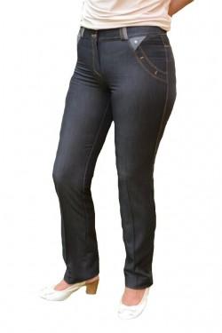 Poze Pantalon lung de stofa cu aspect de blug cu design de buzunare