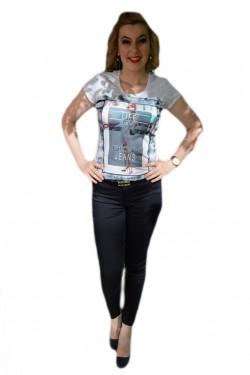 Poze Pantalon tineresc de primavara-vara, bleumarin, model lung