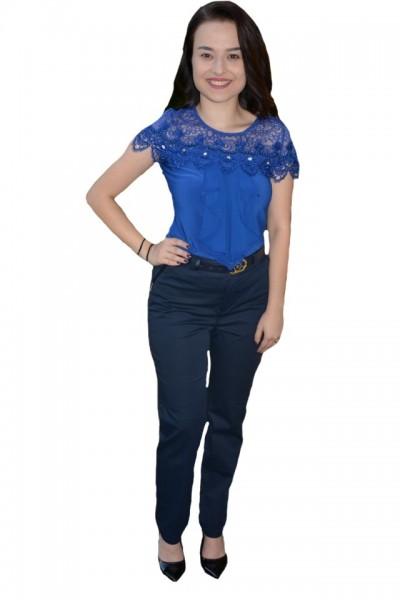 Poze Pantalon Ximena office lungi,nuanta de bleumarin