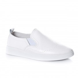 Poze Pantof alb, tineresc, cu insertie de elastic si design de perforatii