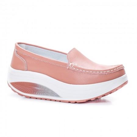 Poze Pantofi dama Avelia sport cu talpa ortopedica,nuanta de pudra