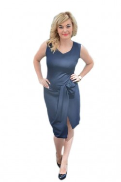Poze Rochie casual, feminina, chic de culoare bleumarin