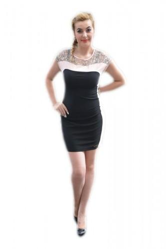 Rochie casual, senzuala, midi, de culoare negru-pudra RO-684-PU