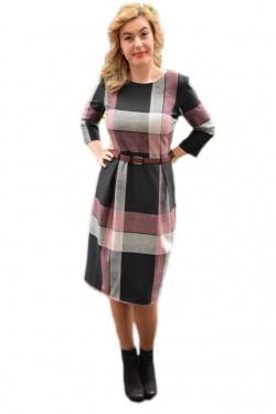 Rochie comoda de zi cu design de carouri si dungi negru-roz-gri