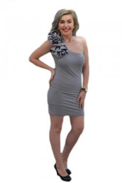 Poze Rochie de club gri, model simplist, mulata pe corp si fodra pe umar