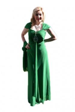 Poze Rochie de gala verde cu model fronsat in zona bustului