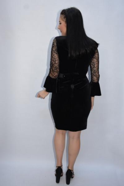 Rochie de ocazie Salma din catifea cu insertii de dantela ,negru