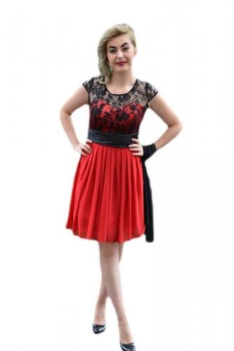 Rochie de ocazie superba, rosie, cu insertie din dantela neagra