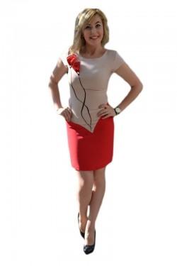 Poze Rochie eleganta, cu model deosebit, maneca scurta, nuanta corai