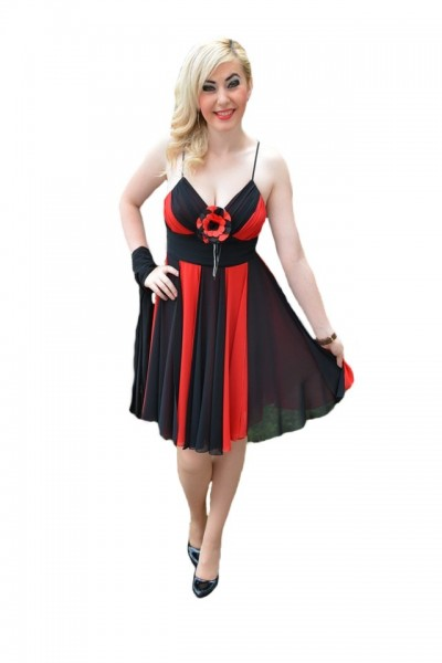 Poze Rochie eleganta , rosie , cu benzi negre din voal