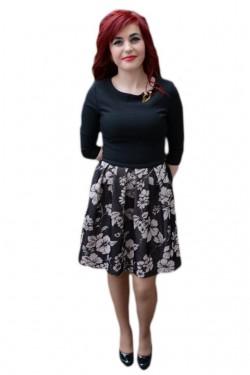 Poze Rochie fashion, nuanta de negru-mov, detaliu auriu chic