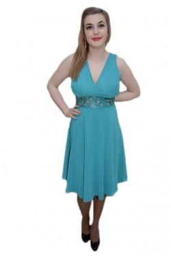 Poze Rochie fashion, nuanta de turcoaz, design interesant