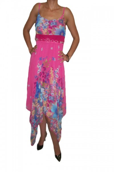 Poze Rochie feminina de vara, in nuanta de roz, croi asimetric