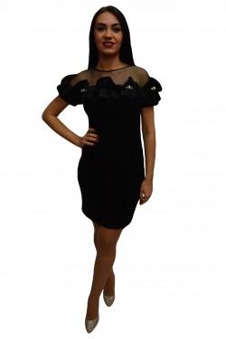 Poze Rochie feminina in nuanta de negru cu volanase la decolteu