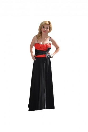Rochie lunga, eleganta, de culoare neagra, cu top rosu