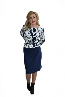 Poze Rochie rafinata tip costum cu peplum, bleumarin combinat cu alb