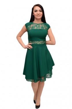 Rochie scurta pentru evenimente, nuanta de verde, cu dantela
