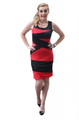 Poze Rochie senzuala, rosu-negru si cu inserti de paiete negre