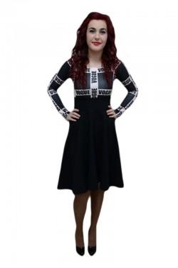 Poze Rochie trendy, nuanta de negru, design grafic modern