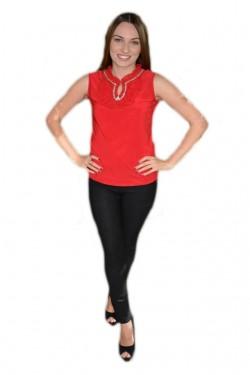 Top fashion de primavara-vara din material elastic, nuanta rosie