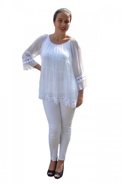 Poze Bluza Anastasia rafinata cu insertii fine de dantela ,nuanta de alb